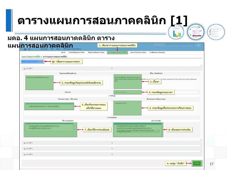 ตารางแผนการสอนภาคคลินิก [1]